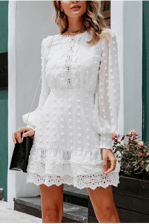 Calais Lace Skater Dress in White