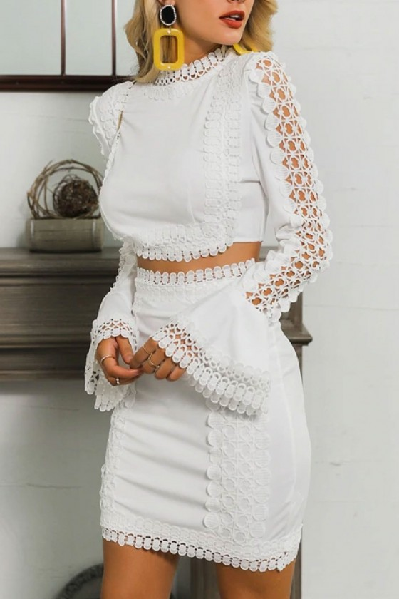 Ianthe Two Piece White Lace Dress