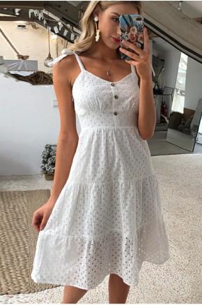 Cayla Crochet Sundress in White