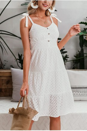 Cayla Crochet Sundress in White