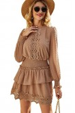 Eva Shirred Waist Dress in Coffee