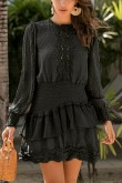 Eva Shirred Waist Dress in Black