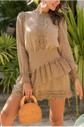 Eva Shirred Waist Dress in Coffee