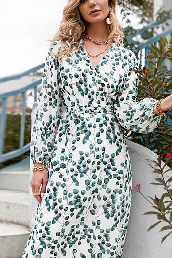 Idelle Midaxi Leaf Print Dress