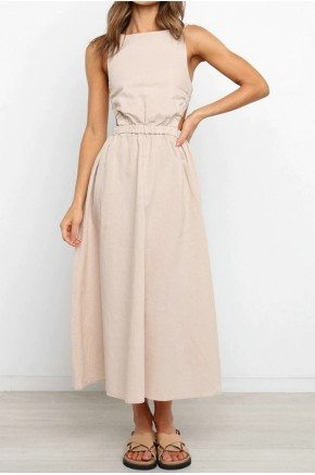 Tahlia Modern Backless Dress in Off White