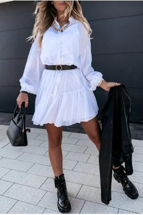 Rachel Swiss Dot White Sheer Tunic