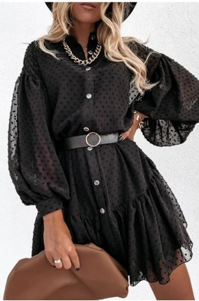 Rachel Swiss Dot Black Sheer Tunic