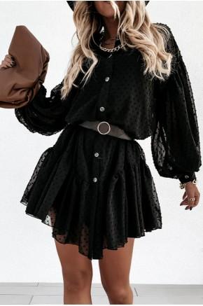 Rachel Swiss Dot Black Sheer Tunic