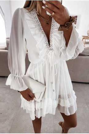 Joline White Ruffles Dress