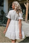 Christina White Perforated Dress