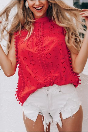Nicolle Embroidered Pompom Blouse
