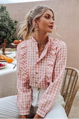Mia Checked Long Sleeve Blouse