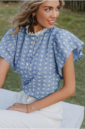 Janice Floral Embroidered Boho Blouse