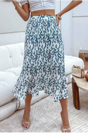 Efia Leaf Print Pleated Skirt