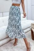 Efia Leaf Print Pleated Skirt