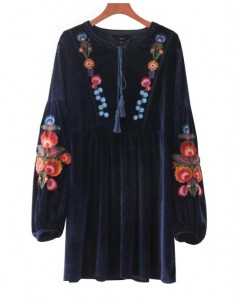 Flowers Embroidered Velvet Tunic