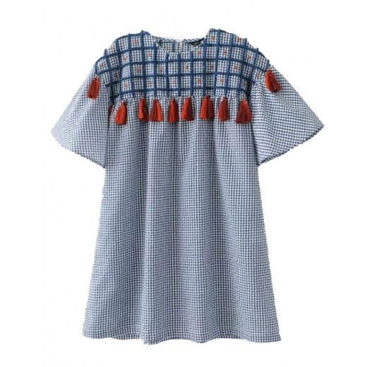 'Hazel' Checkered Tassel Tunic
