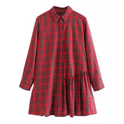 'Xenia' Ruffled Plaid Shirt Dress
