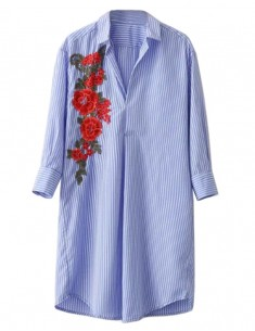 Floral Patch Shirt Dress