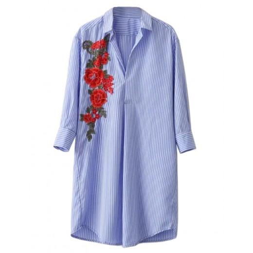 Floral Patch Shirt Dress