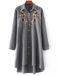 Embroidered Button-Down Shirt Dress