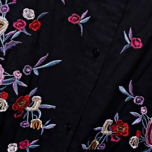 'Rose' Floral Embroidered Shirt