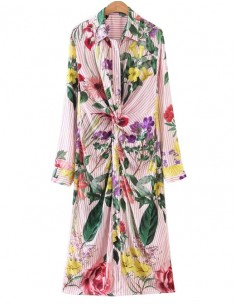 'Odelia' Bright Wildflowers Midi Dress