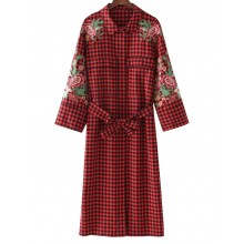 'Gertie' Floral Embroidered Plaid Dress