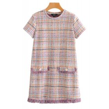 'Winona' Plaid Tweed Shift Dress