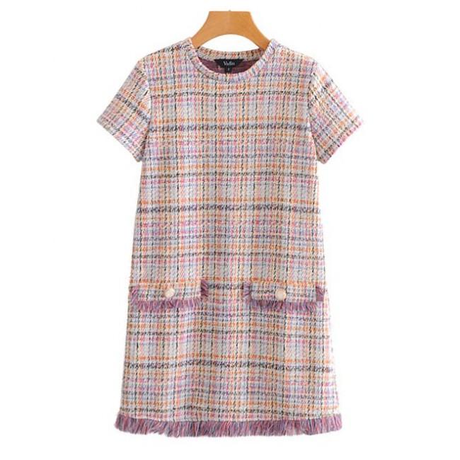 02fbffdb8f  Winona  Plaid Tweed Shift Dress