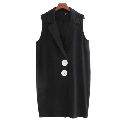 'Marge' Sleeveless Black Blazer Dress
