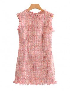 'Masie' Pink Tweed Shift Dress