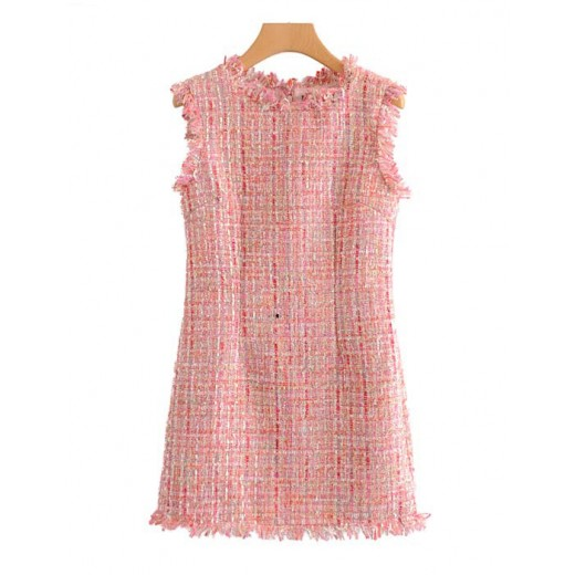 'Masie' Pink Tweed Shift Dress