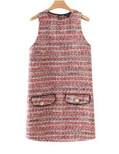 'Noelle' Sleeveless Retro Tweed Dress