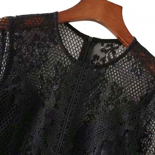 'Netta' Black Crochet Midi Dress