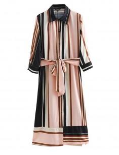 'Qitarah' Striped Retro Midi Dress