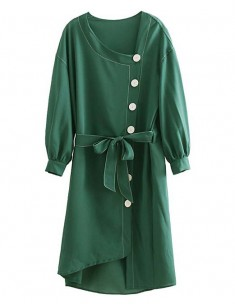 'Alessia' Asymmetrical Green Dress