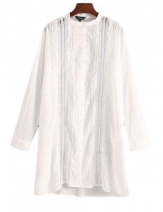 'Lynnette' Lace Insert White Tunic