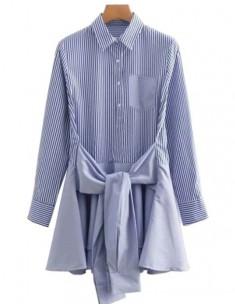 'Skyler' Bow Tie Blue Shirt Dress