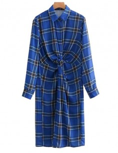 'Nadene' Casual Blue Plaid Dress
