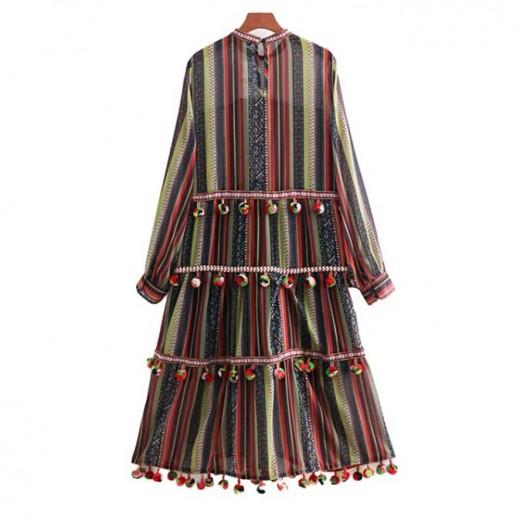 'Jeanne' Pompom Long Dress