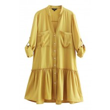 'Ariel' Yellow Shirt Dress