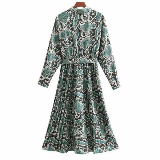 'Erika' Snake Print Flattering Dress