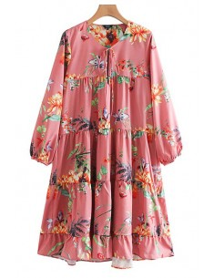 'Zoe' Oversized Bloom Ruffles Dress