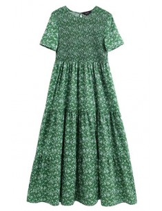 'Shani' Retro Floral Green Dress