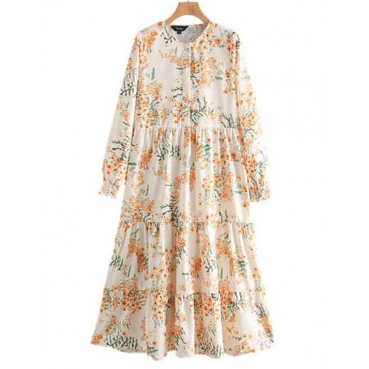 'Shelly' Floral Patterned Long Dress