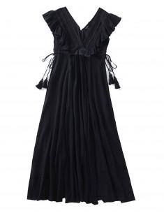 'Aaliyah' Black Tassel Dress