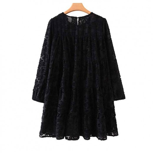 'Claire' Textured Black Flared Tunic