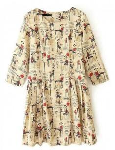 Drawing-Print Pleated Mini Dress