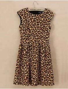 Sleeveless Leopard Print Skater Dress